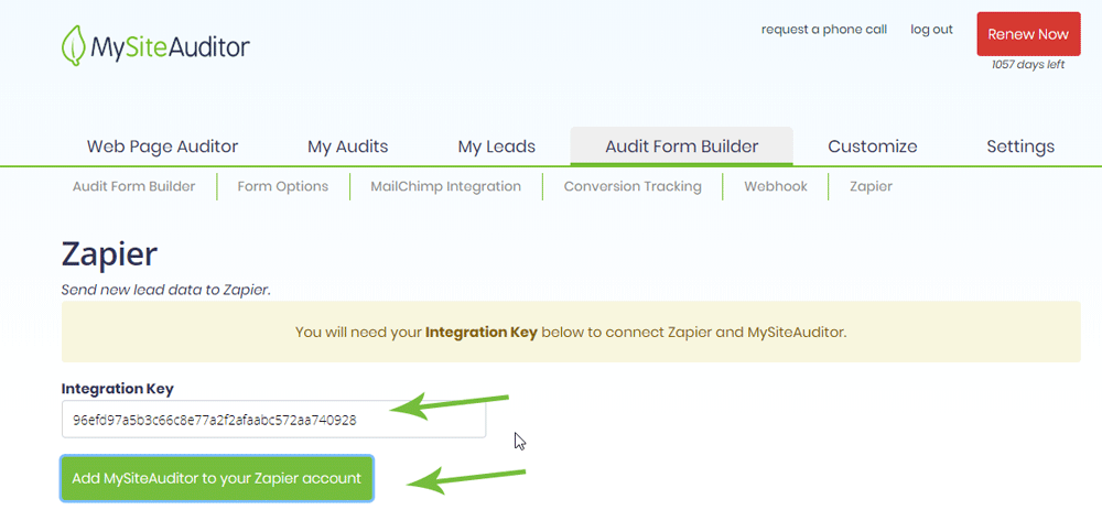 MySiteAuditor Integration Key