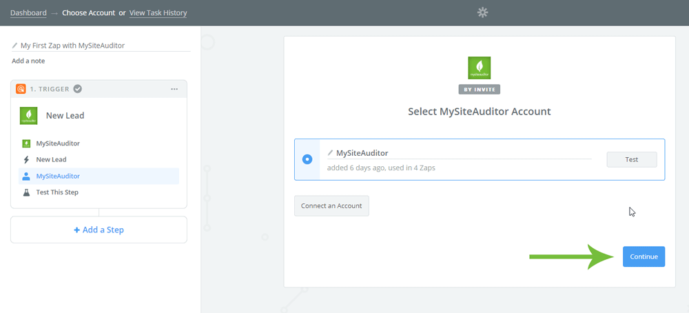 MySiteAuditor - Zapier Setup Page Lead Application