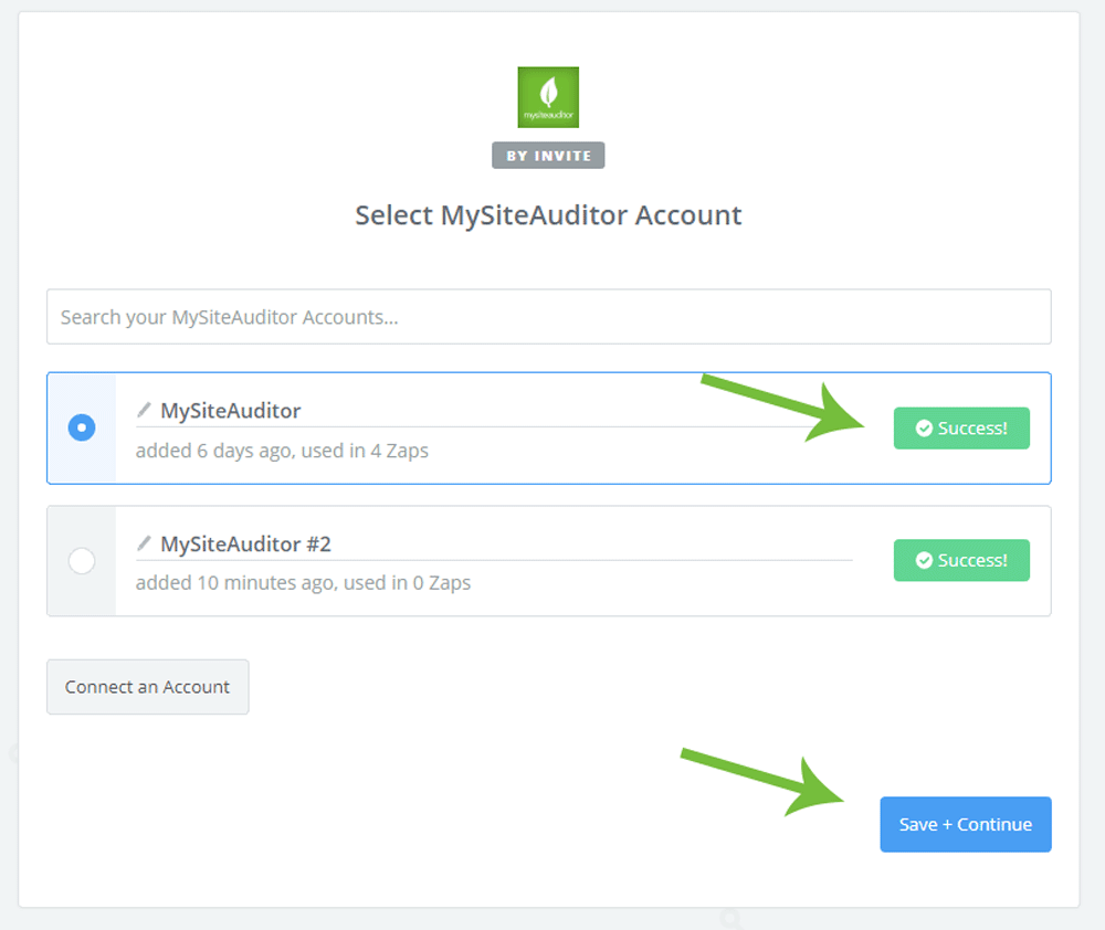 MySiteAuditor - Zapier Setup Page Additional Lead Application